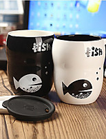 1PC 8*6*11cm Pure And Fresh And Contracted Fashion Cute Black And White Valentine'S Sister Cup Creative Fish Mugs