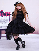 Rayon Sash Ruffles Gothic Lolita Dress Lovely Girl Halloween Party Dresses