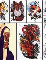 8PCS Beauty 3D Decal Temporary Tattoo Ferocity Nine-tailed Fox Claw Design Women Men Body Art Waterproof Tattoo Sticker