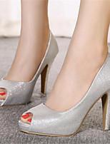 펌프스/힐-웨딩 / 파티/이브닝-여성의 신발-힐 / 토오픈-레더렛-스틸레토 굽-실버 / 골드