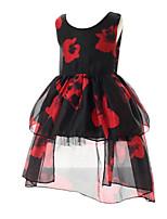 Girl's Dress,Polyester Summer / Spring Black