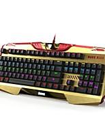 e-3LUE ekm740 iron man multicolor bedraad backlit mechanische gaming toetsenbord, blauw switch