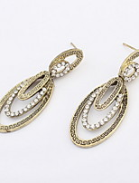 Summer Fine and Fashion Jewelry Charming Statement Big Oval And Small Round Rhinestone Drop Earrings For Women