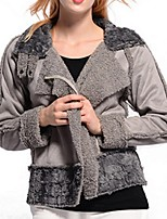 Women's Patchwork Gray Coat,Plus Size Long Sleeve Polyester