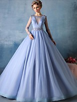 Formal Evening Dress-Sky Blue Ball Gown Jewel Court Train Tulle
