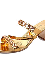 Women's Shoes PU Chunky Heel Open Toe Sandals Outdoor / Dress / Casual Silver / Gold