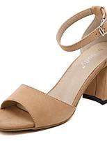 Women's Shoes Fleece Summer Heels Outdoor / Casual Chunky Heel Buckle Black / Beige