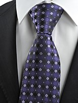 Purple Black Flora Checked Classic Men's Tie Necktie Wedding Holiday Gift KT0070