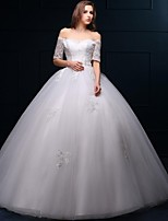 New 2016 Ball Gown Off the shoulder Lace Tulle Wedding Dress