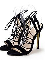 Chaussures Femme-Habillé / Soirée & Evénement-Noir / Blanc-Talon Aiguille-Talons / A Plateau / Bout Ouvert-Sandales-Laine synthétique
