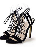 Women's Shoes Fleece Stiletto Heel Open Toe Sandals Party & Evening / Dress Black / White