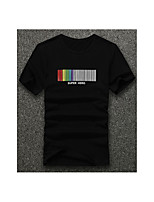 Letter -Informeel-Heren-Katoen-T-shirt-Korte mouw Zwart / Wit