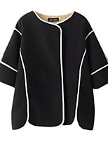 Women's Striped White / Black Coat,Street chic Long Sleeve Polyester