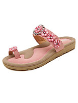 Women's Shoes PU Flat Heel Slippers Slippers Outdoor / Casual Pink / Almond