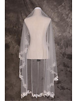 Wedding Veil One-tier Fingertip Veils / Chapel Veils Cut Edge / Lace Applique Edge