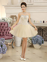 Cocktail Party Dress Ball Gown Sweetheart Short / Mini Chiffon / Lace with Crystal Detailing / Lace / Bandage