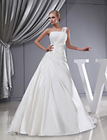 A-line Wedding Dress-Court Train One Shoulder Lace / Satin