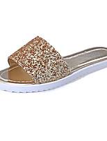 Damenschuhe-Sandalen / Pantoffeln-Outddor / Kleid / Lässig-PU-Flacher Absatz-Pantoffeln-Schwarz / Weiß / Silber / Gold