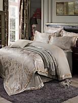 Rose Queen King Size Bedding Set Luxury Silk Cotton Blend Duvet Cover Sets