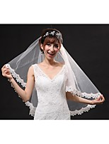 One-tier-Cut Edge / Lace Applique Edge-Angel cut/Waterfall-Elbow Veils(Beige,Embroidery / Ruched)