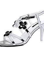 Women's Shoes Leatherette Stiletto Heel Heels / Peep Toe Sandals Wedding / Party & Evening / Dress Black / White
