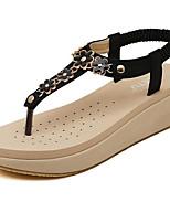 Women's Shoes Flipflop Vintage Flower Bohemian Style Wedge Heel Comfort Sandals Dress / Casual Black / Almond