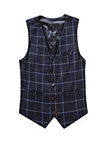 Men's Casual Slim Plaid Suit Vest,Cotton / Polyester Formal Plaids
