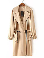 Women's Casual/Daily Street chic Trench Coat,Solid Shirt Collar Long Sleeve Fall Beige / Black Polyester