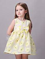 Girl's Casual/Daily Floral DressCotton / Polyester Summer / Spring Yellow