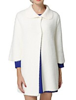 Women's Solid White Pea Coats,Street chic Long Sleeve Polyester