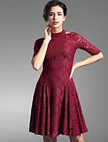 Baoyan® Women's Round Neck 1/2 Length Sleeve Above Knee Dress-160030
