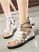 Women's Shoes Denim Wedge Heel Wedges / Open Toe Sandals Outdoor / Casual Black / Silver