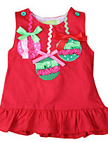 Girl's Red Dress,Bow Cotton Summer / Spring