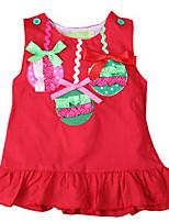 Robe Fille de Eté / Printemps Coton Rouge