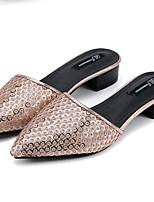 Women's Shoes Fleece / Leatherette Summer Comfort Outdoor / Casual Low Heel Sequin Black / Silver / Gold