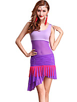 Belly Dance Outfits Women's Training Tulle / Modal Draped 2 Pieces Fuchsia / Purple / Red / White