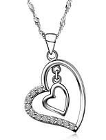 Super Trendy Real Austrian Rhinestone Crystal Double Heart Pendant Necklace Silver Short Link Chain Women Nice Jewelry