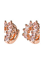 AAA Zircon 18k Gold/Silver Hoop Stud Earrings