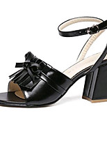 Women's Shoes Leatherette Summer Heels Outdoor / Casual Chunky Heel Bowknot / Buckle Black / Beige