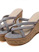 Chaussures Femme-Extérieure / Décontracté-Noir / Rose / Gris-Talon Compensé-Compensées / Talons-Sandales / Chaussons-Laine synthétique