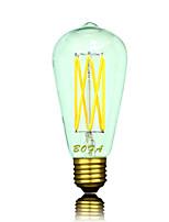 6W B22 / E26 / E26/E27 Ampoules Globe LED ST64 6 COB 300-550 lm Blanc Chaud Gradable / Décorative AC 100-240 / AC 110-130 V 1 pièce