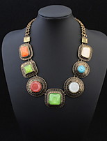 New Colorful Fashion Round Square Necklace Collar Choker Statement Necklace Gold Chain