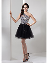 Cocktail Party Dress-Black A-line One Shoulder Short/Mini Tulle / Sequined