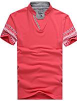 New Mens T-shirt multicolor Korean young men cotton collar casual men's T-shirt slim thin tide