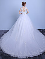 Ball Gown Wedding Dress-Ruby / White Cathedral Train Scoop Lace / Satin / Tulle
