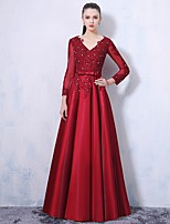 Formal Evening Dress-Burgundy A-line V-neck Floor-length Lace / Satin / Taffeta
