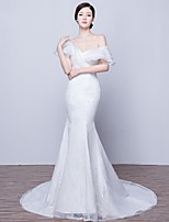 Trumpet/Mermaid Wedding Dress-Court Train Off-the-shoulder Lace / Satin