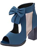 Women's Shoes Leatherette Summer Heels / Peep Toe Outdoor / Casual Chunky Heel Bowknot Black / Blue