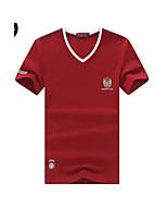 Effen-Informeel-Heren-Katoen-T-shirt-Korte mouw Blauw / Rood / Wit