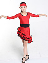 Latin Dance Dresses Children's Performance Spandex Draped 1 Piece Black / Fuchsia / Red